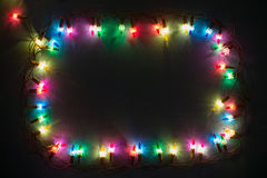 Luzes Garland Colorful Background Fotos de Stock Royalty Free