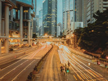 Luzes hennesy da estrada de Hong Kong Fotos de Stock