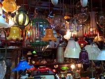 Luzes indicadas na tenda oriental fotografia de stock