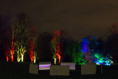 Luzes mágicas no parque de Gruga, Alemanha Foto de Stock Royalty Free