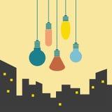 Luzes multi-coloridas de suspensão Fotografia de Stock Royalty Free