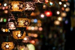 Luzes no bazar da especiaria Fotos de Stock Royalty Free