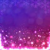 Luzes no fundo roxo com flocos de neve. ilustração royalty free