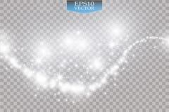 Luzes no fundo transparente Ilustração branca do sumário da onda do brilho do vetor Efervescência branca da fuga da poeira de est ilustração stock