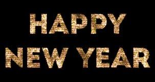 Luzes sparkly do brilho do ouro amarelo do vintage e efeito de incandescência que simulam o ano novo feliz 2018 do diodo emissor  ilustração do vetor