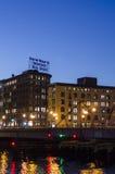 Luzes sul de Boston na água foto de stock