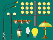 Luzes urbanas da rua elétrica lisa da lâmpada da cidade da lanterna que cabem o vetor da eletricidade da ampola da tecnologia do  Foto de Stock