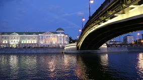 Luzhkov (Tretyakov) bridge, Night view, Moscow, Russia Royalty Free Stock Photo