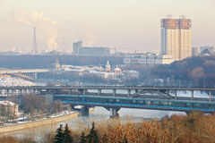 Luzhnetsky metro bridge in winter  in Moscow Stock Image