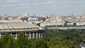 Luzhniki stadion på bakgrundspanoraman av Moskva Royaltyfria Foton