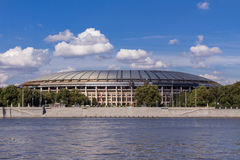 The Luzhniki Stadium on the bank of the river Royalty Free Stock Images