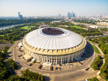 Luzhniki Stadium in Moscow. Aerial view of the Luzhniki Stadium in Moscow, Russia.  Luzhniki Stadium has been selected for the 2018 FIFA World Cup Royalty Free Stock Photography