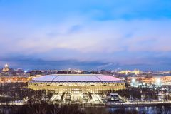 Luzhniki stadium in Moscow during blue hour in the evening. 2018 World Cup final game stadium. Royalty Free Stock Images