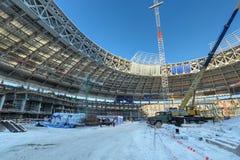 Luzhniki Stadium. MOSCOW, RUSSIA - FEB 10, 2015: Preparation 2018 FIFA World Cup, reconstruction Luzhniki Stadium Stock Photo