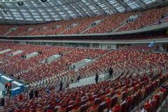 Luzhnikistadion bij nacht Royalty-vrije Stock Foto
