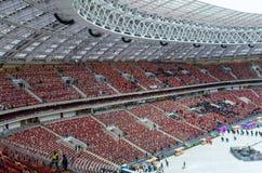 Luzhnikistadion bij nacht Stock Afbeelding
