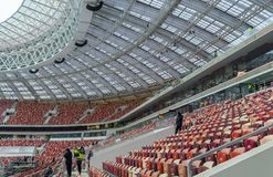 Luzhnikistadion bij nacht Stock Foto