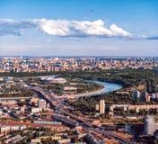Luzhnikistadion van een hoogte, Bloederig panorama van Vorobyovy stock foto's