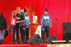 Luzowanie Olimpijski płomień w Moskwa Zdjęcia Stock