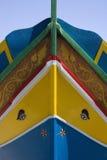 Luzzu渔船在马耳他 库存图片