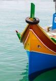 Luzzu, традиционные наблюданные рыбацкие лодки стоковое изображение rf