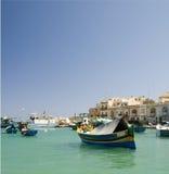 Luzzu boat marsaxlokk harbor malta Stock Photography