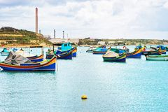 Luzzu colored boats at Marsaxlokk Bay Malta Royalty Free Stock Photos