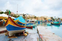 Luzzu colorful boat at Marsaxlokk Harbor Malta Stock Photos