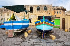 Luzzu colorful boats at Marsaxlokk Malta Stock Image