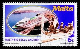 Luzzu en cruisevoering, Malta tijdens de 20ste Eeuw serie, circa 2000 Royalty-vrije Stock Foto