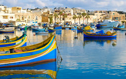 Luzzu famous fishing boats in Marsaxlokk - Malta.  Royalty Free Stock Images