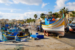Luzzu famous fishing boats in Marsaxlokk - Malta. Europe Royalty Free Stock Photo