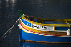 Luzzu fishing boat malta. Malta Marsaxlokk native fishing boat luzzu Stock Image