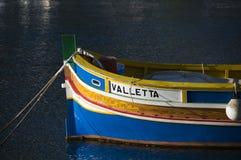 Luzzu fishing boat malta. Malta Marsaxlokk native fishing boat luzzu stock image