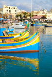 Luzzu fishing boats in Marsaxlokk - Malta.  Stock Images