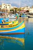 Luzzu fishing boats in Marsaxlokk - Malta Stock Images