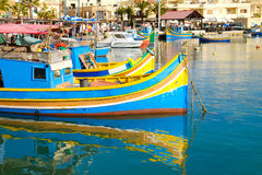 Luzzu fishing boats in Marsaxlokk - Malta.  Royalty Free Stock Photos
