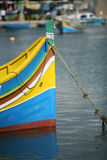 Luzzu, Maltese boat with eyes. Luzzu a traditional fishing boat from the Maltese islands, town of Marsaxlokk Stock Image