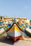 Luzzu, traditional eyed fishing boats. Marsaxlokk, Malta Royalty Free Stock Photo