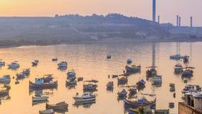 Luzzu, traditionele Maltese eyed boten, Marsaxlokk-baai Stock Fotografie
