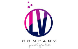 LV L V Circle Letter Logo Design with Purple Dots Bubbles Royalty Free Stock Photo