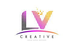LV L V Letter Logo Design with Magenta Dots and Swoosh Royalty Free Stock Photos