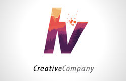 LV L V Letter Logo Design with Purple Forest Texture Flat Vector Stock Images