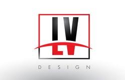 LV L V Logo Letters com cores e Swoosh vermelhos e pretos ilustração do vetor