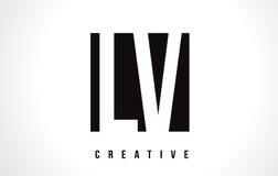 LV L V White Letter Logo Design with Black Square. Stock Image