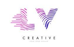 LV L V Zebra Lines Letter Logo Design with Magenta Colors Stock Image