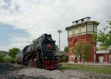 LV-0283 parowa lokomotywa i wieża ciśnień, Moskwa, Rosja Obraz Royalty Free