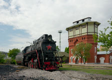 LV-0283 steam locomotive and water tower, Moscow, Russia Royalty Free Stock Image