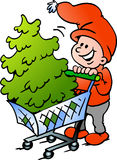 Älva för lycklig jul som shoppar en julgran Royaltyfri Bild