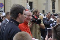 LViIV,UKRAINA-JUNE 18.2016 cardinal Pietro Parolin Cardinal Pietro Parolin in the Ukraine city of Lviv 2016, gets out and greets h stock images